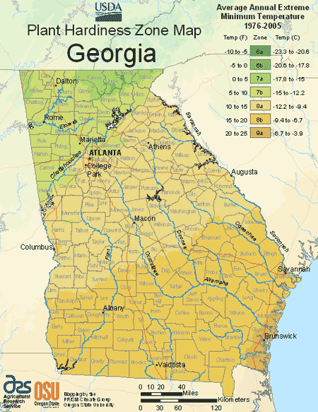 Georgia Planting Zones Usda Map Of Georgia Growing Zones Plant Hardiness Zone Map Planting Zones Map Georgia Gardening