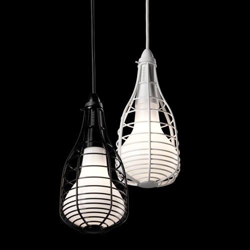 A pair of Foscarini Diesel Collection Cage Mic Suspension Lamps match the wire style of Bend chairs perfectly. http://www.ylighting.com/blog/five-modern-lighting-favorites-bend-giveaway/