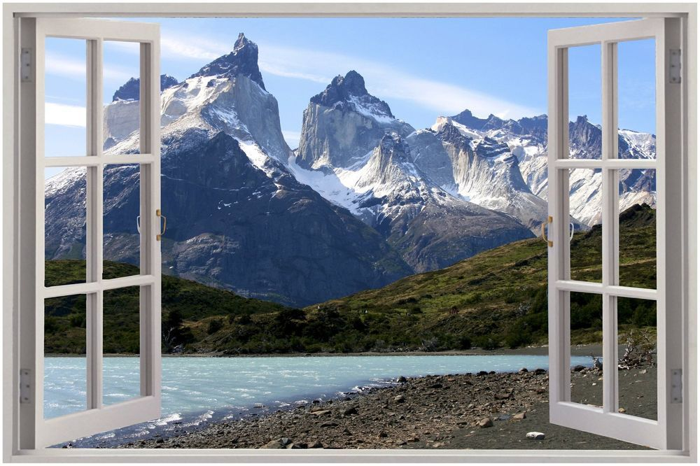 Huge 3D Window Exotic Mountain View Wall Stickers Film Mural Art Decal Wallpaper
