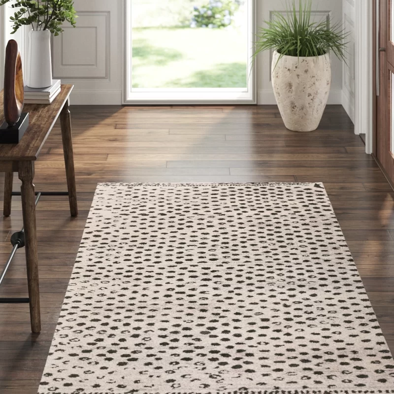 Hugo Polka Dots Hand Knotted Black Pale Gray Area Rug Exquisite Rugs Brown Area Rugs Dash And Albert Rugs