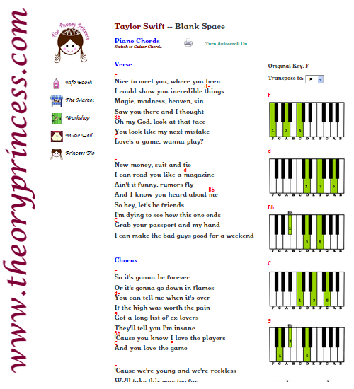 Blank Space By Taylor Swift Includes Lyrics Chords Piano Chords