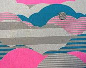 Hokkoh Linen Neon Clouds - 1/2 Yard -Neon  Fabric - Made in Japan Clouds Hot Pink Turquoise - Lightweight Cotton Canvas - Cotton Linen Blend