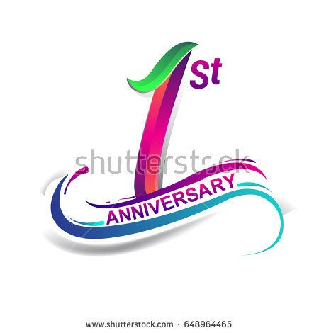 1st anniversary celebration logotype green and red colored one years birthday logo on white background birthday logo 2nd anniversary anniversary logo 1st anniversary celebration logotype