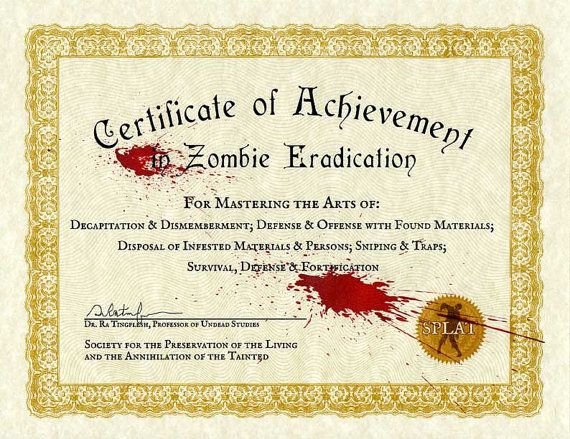 Certificate of achievement in zombie eradication 85x11 certificate of achievement in zombie eradication 85x11 yadclub Image collections