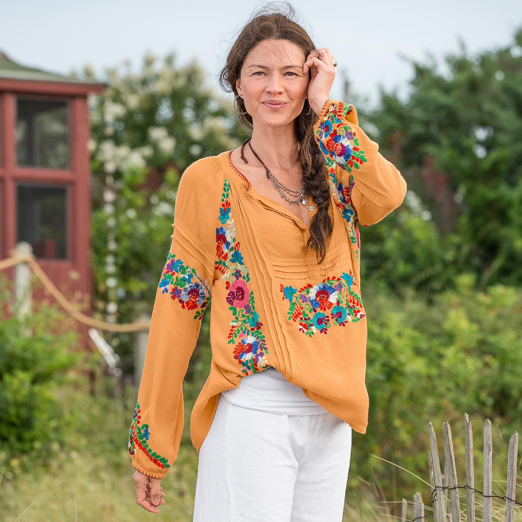 """FABLED FLOWER TOP--Richly embroidered blossoms add life in our easy-fitting, crinkle top. Tucks and pleats add dimension for a pretty silhouette. Rayon. Hand wash. Imported. Exclusive. Sizes XS (2), S (4 to 6), M (8 to 10), L (12 to 14), XL (16). Approx. 27""""L."""