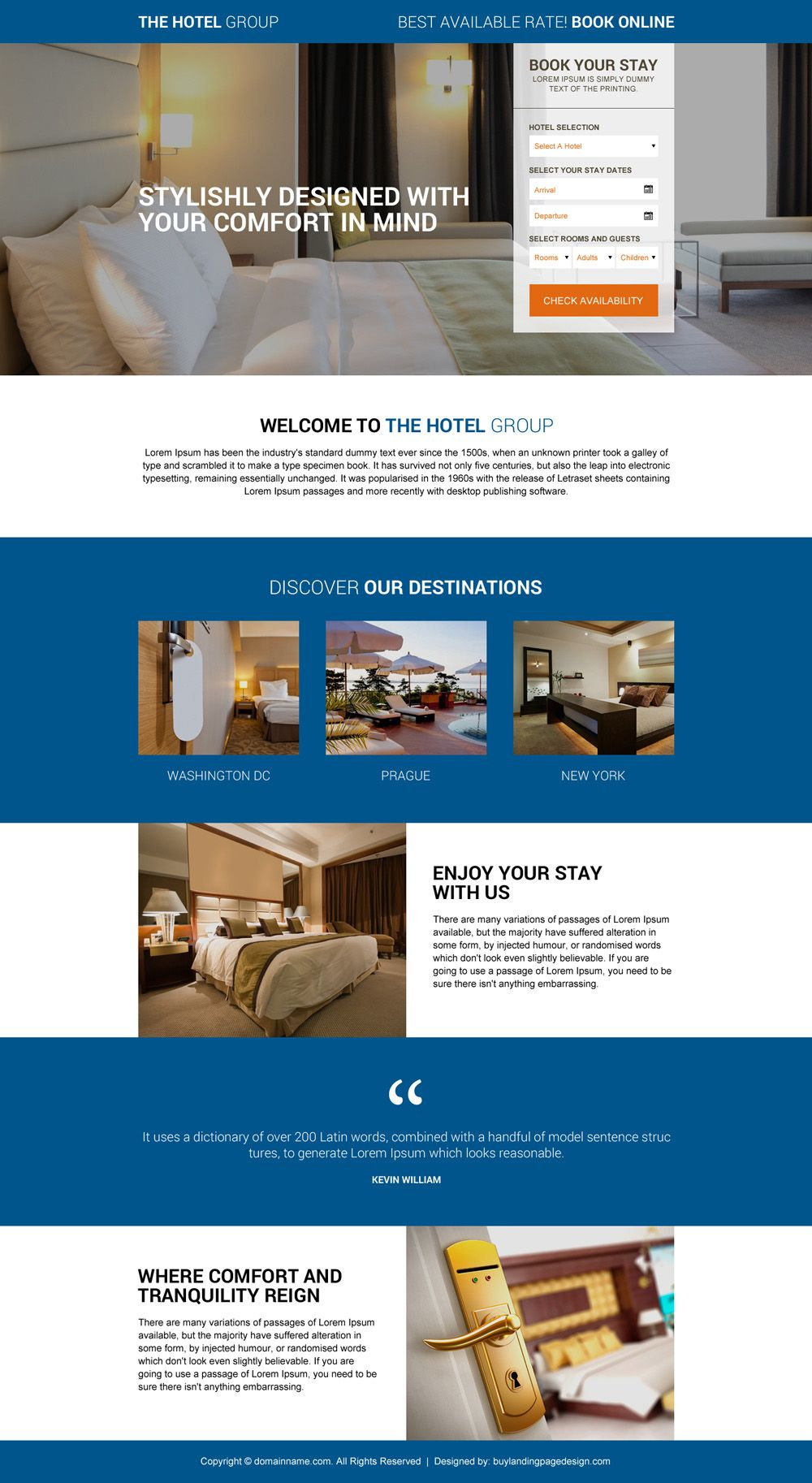 Download Online Hotel Booking Responsive Landing Page Design At An