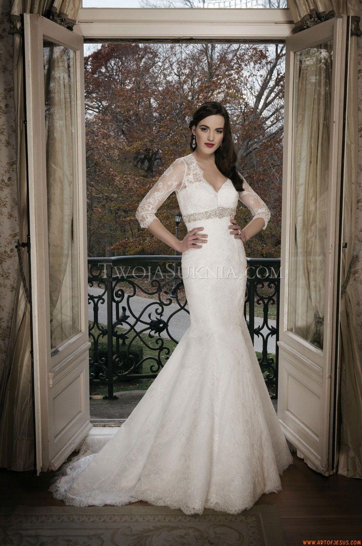 Glamouröse V-Ausschnitt 3/4 Ärmel Meerjungfrau Brautkleider aus ...