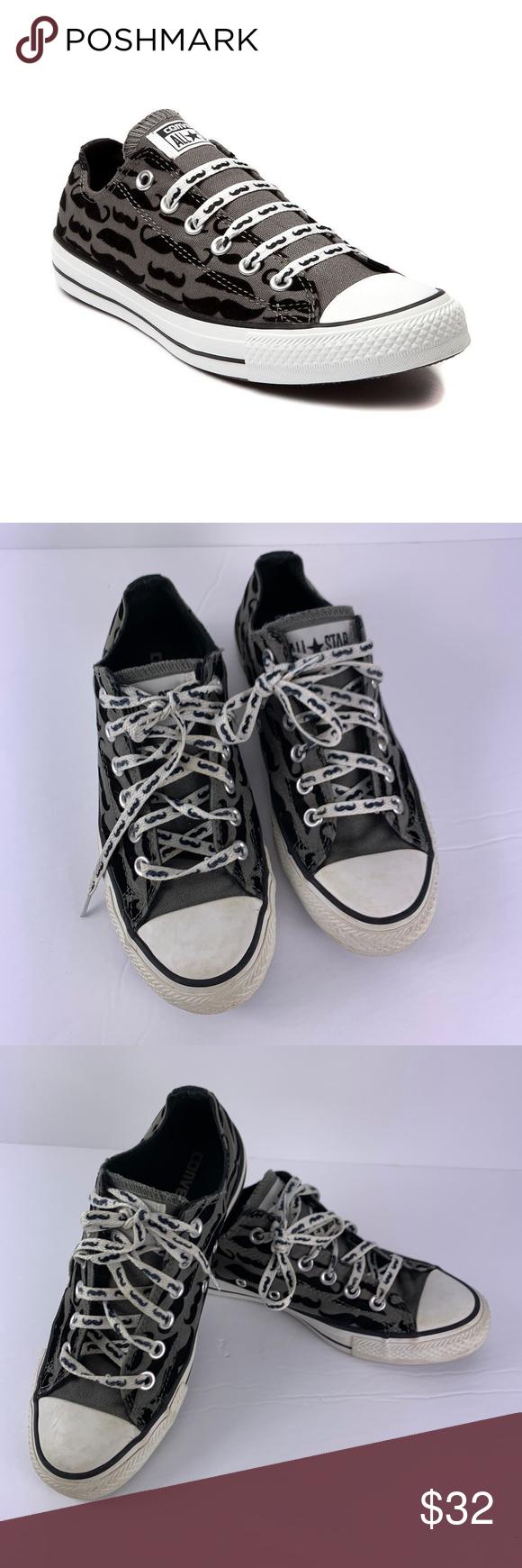 8a79b608ad32 Converse Mustache Print Shoes Sz 7 Womens Sz 5 Men Converse Mustache Print  Shoes Sz 7