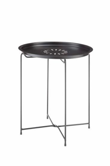 Black Finish Metal Round Removable Top With Decorative Cuts Tray Table With  Fold Able Legs