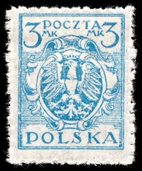 Blue Eagle Crest Stamp, Poland, circa 1920