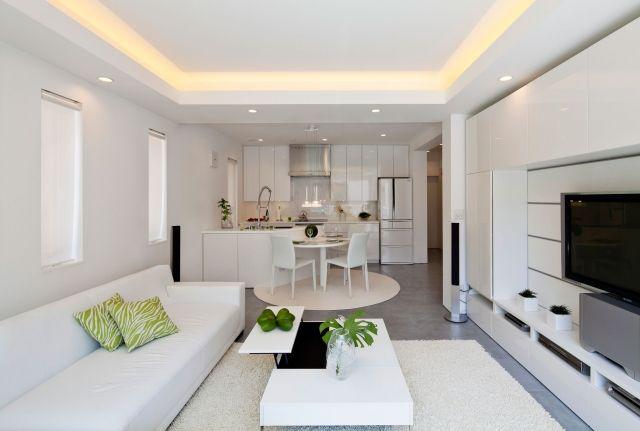 Wohnzimmer Kuche Weiss Deckengestaltung Versteckte Leuchten