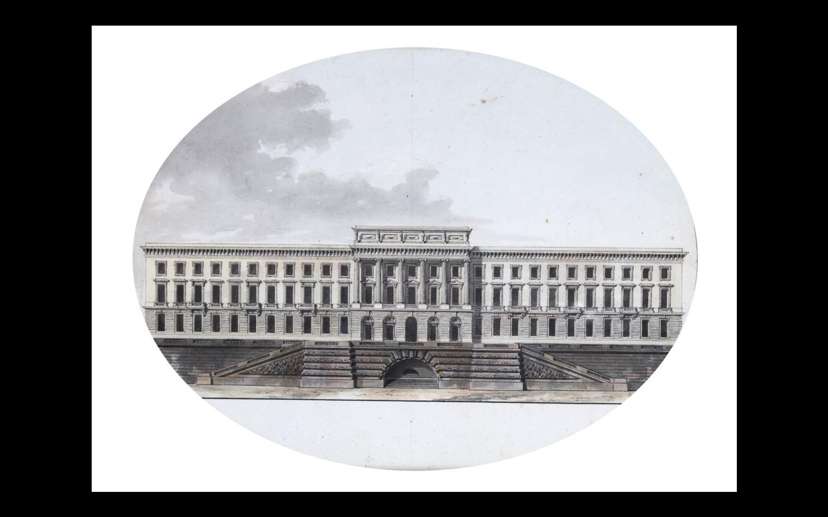 Jean Nicolas Louis Durand 1760 1834 The Hotel De La Monnaie Oval Drawing In Watercolor Pen And Black Ink Architecture Drawing Architecture Details Durand