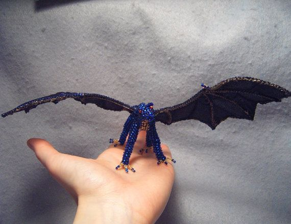 Nienne OoaK poseable beaded dragon by ShinyThingsbyOrin on Etsy, $70.00