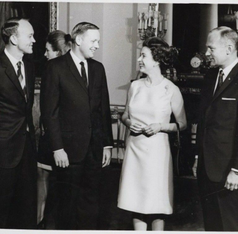 The Queen welcomed astronauts Neil Armstrong, Michael Collins and Buzz Aldrin to Buckingham Palace in 1969.