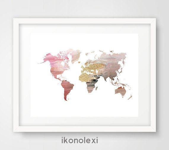 Carte du monde rose imprimé carte du monde affiches dart | Monde