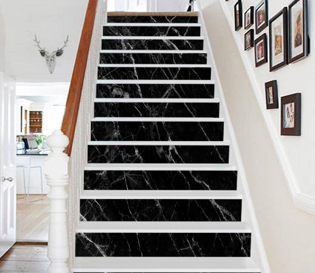 Best 3D Classic Black 884 Marble Tile Texture Stair Risers 400 x 300