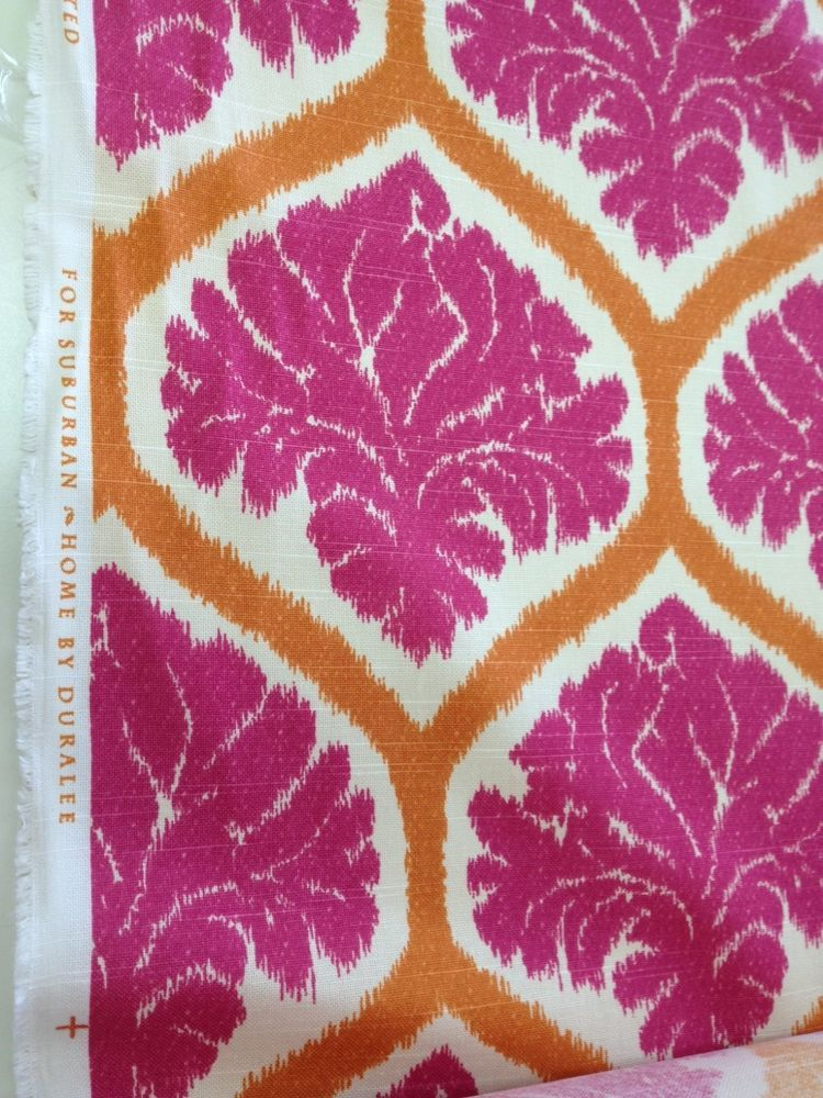 Duralee B. Berger Ambry orange pink off white cotton print