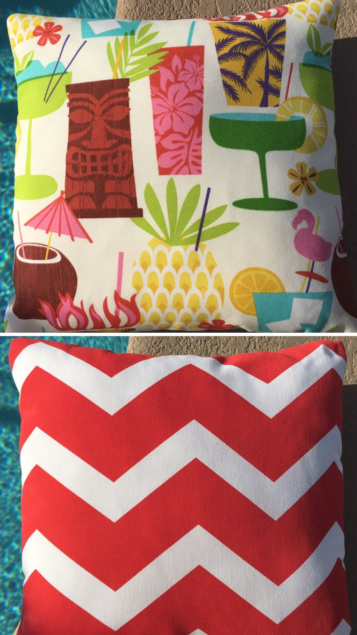 Reversible pillow covers double your decor options! Fun Tiki drink print reverses to chevron. Outdoor fabric perfect for Summer luau parties and entertaining: pool space, boat, patio and indoors. Invisible zipper closure. Handmade in Orlando, Florida.