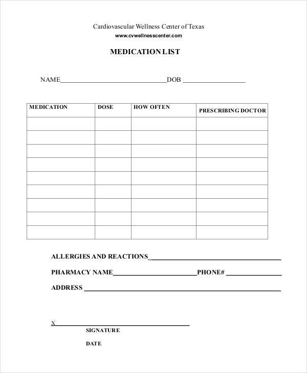 Printable Medication List 8 Free Pdf Documents Download Medication List List Template Card Template