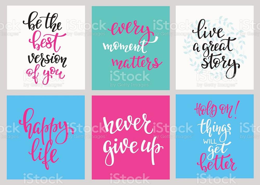Lettering Vector Postcard Quotes Set Motivational Cute Inspiration Lettering Postcard Free Vector Art
