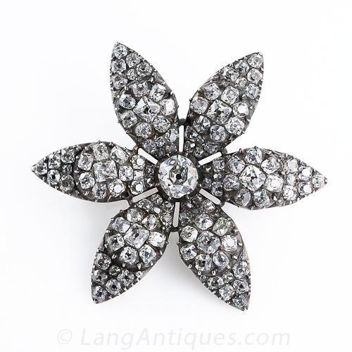 Antique Georgian Diamond Flower Pin $27,500 http://www.langantiques.com/products/item/50-1-2511