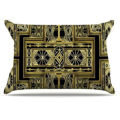 KESS InHouse Golden Art Deco Pillowcase Size: Standard, Color: Gold and Black