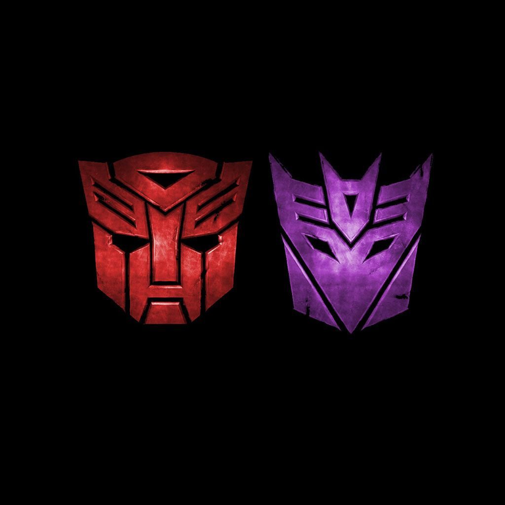 Transformers Autobot And Decepticon Symbols Red And Purple All