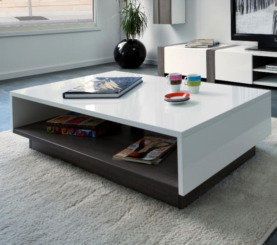 Oak White High Gloss Coffee Table: Montreal Bicolour, Coffee Table In White High Gloss And