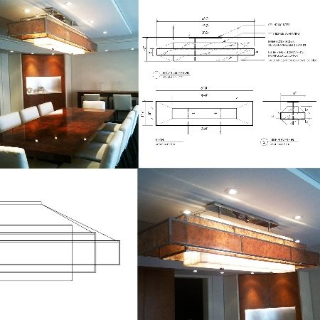 Had fun designing this custom light fixture for one our projects. Chandelier with beautiful stepped floating shades. Shades are Mica suspended from cables and set within a thin polished chrome frame. Lit onyx center box. Design by RAB/ID.
