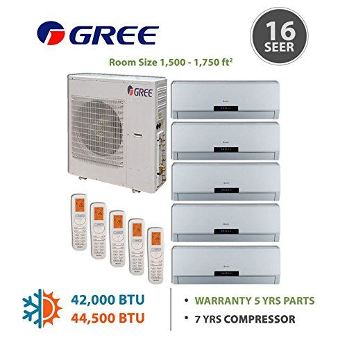 Multi Zone 42 000 Btu 3 5 Ton Ductless Mini Split Air Conditioner With Heat Inverter Remote 208 2 Ductless Mini Split Locker Storage Ductless