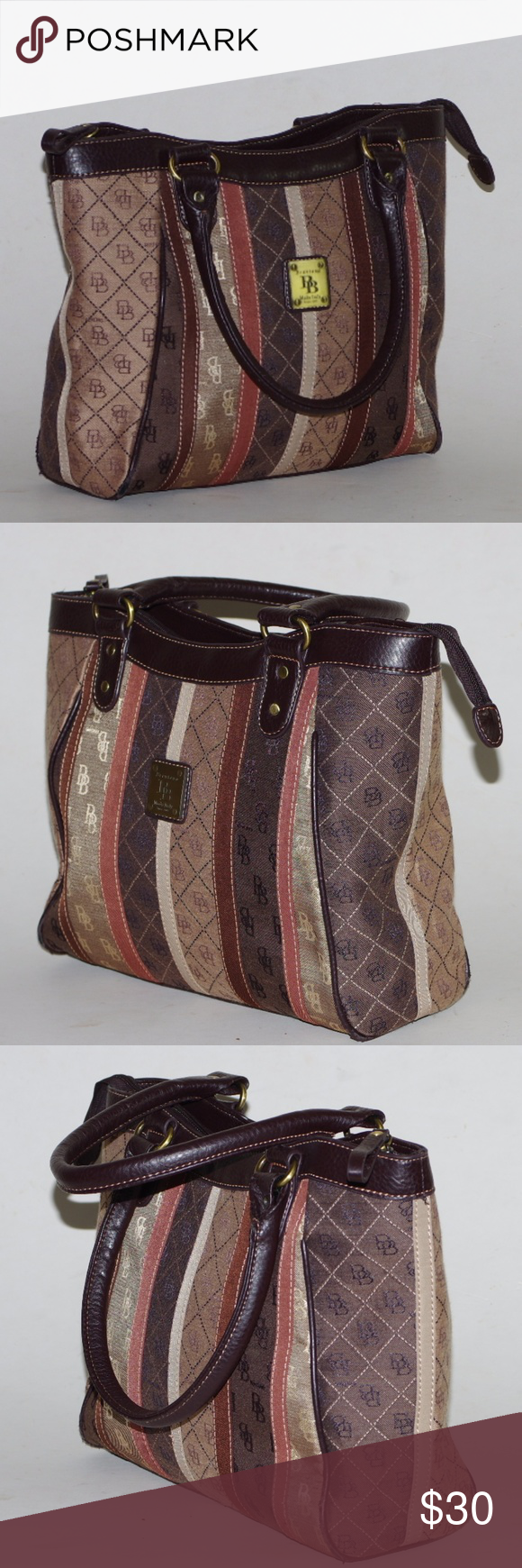 Nwot Signature Monogram Handbag Brown Satchel L By Brentano Moda Italy Large Textile New Without Tags Or Packaging