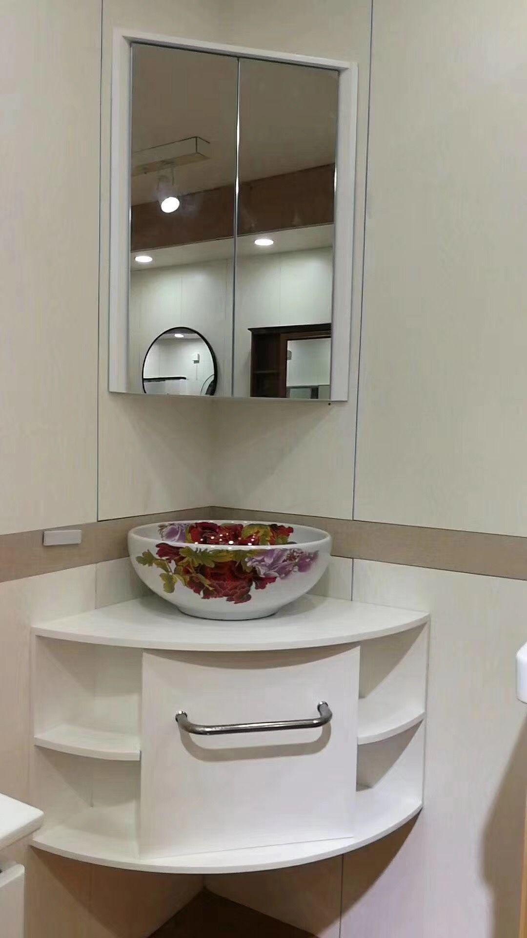 136usd Corner Bathroom Wall Vanity New Design Washroom Design Led Mirror Bathroom Small Bathroom