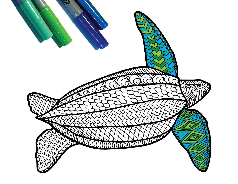 Leatherback Turtle - Endangered Animal - PDF Zentangle ...