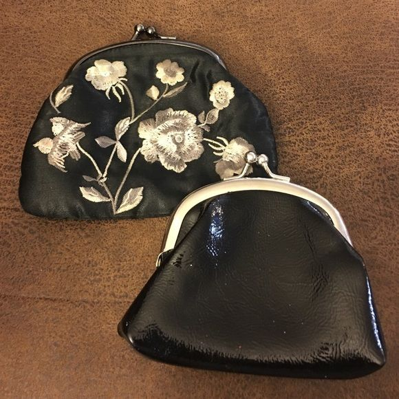 Coin purse bundle Preloved coin purse bundle.  One is embroidered the other is plain black.  Both are Preloved but in great condition.  Kiss lock closure. Bags Mini Bags