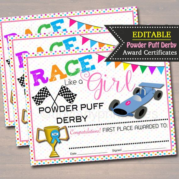 Powder Puff Derby Award Certificates INSTANT + EDITABLE Girl Scout - first place award certificate