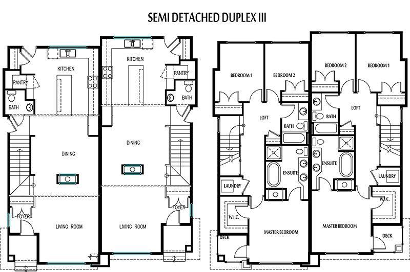 Superior Semi Duplex House Plans #1: Edmonton Duplexes Or Semi-Detached Homes Blueprints