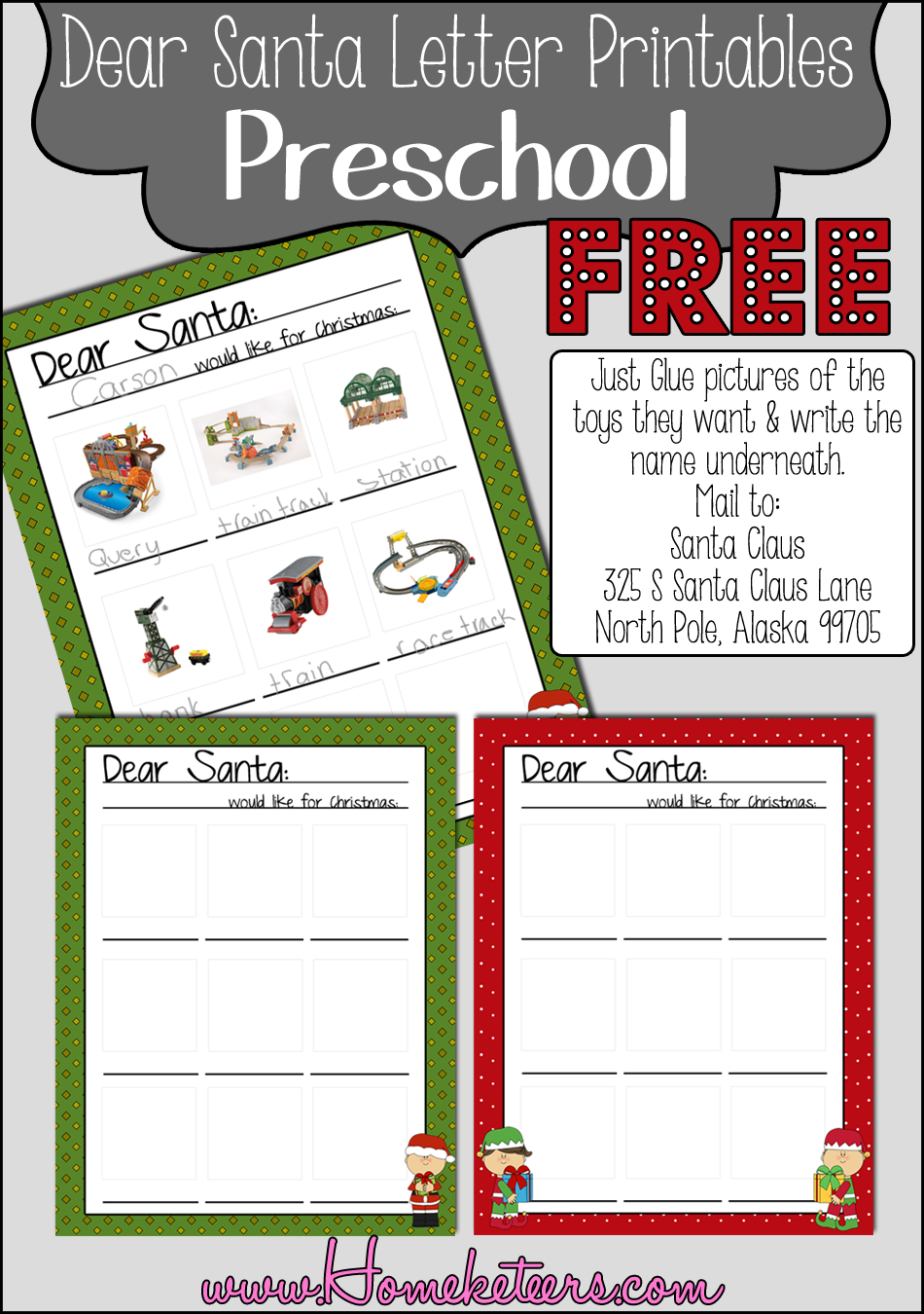 Dear Santa Letters  Free Printables  Dear Santa Free Printables