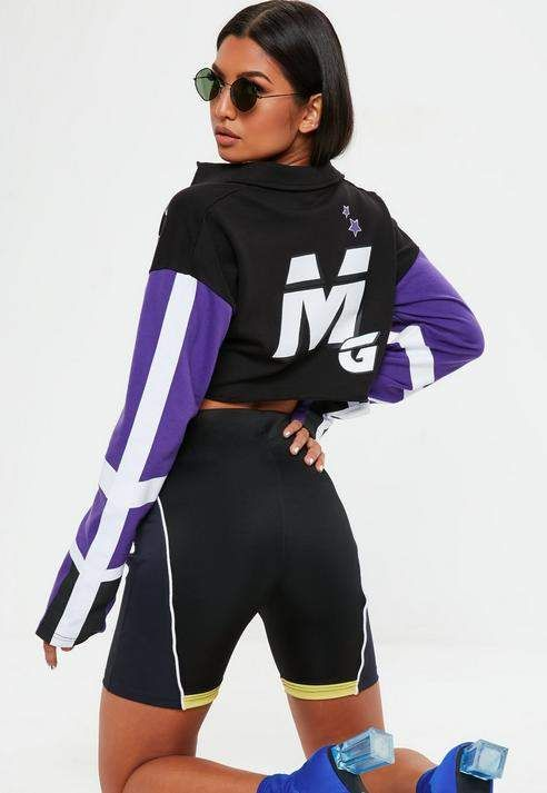 3e5e403358366 Missguided Purple Rugby MG Crop Top