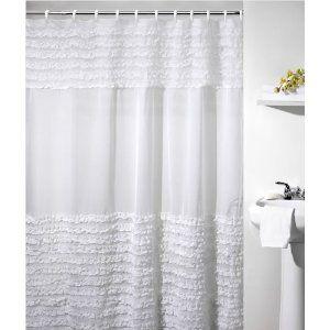 Ruffles Shower Curtain Belyj Dush Tkanevye Shtory Dekor Vannoj