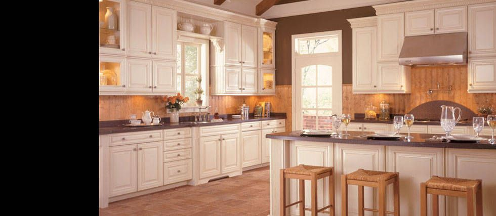 American Woodmark Savannah Double Cabinets And Open Shelf Over