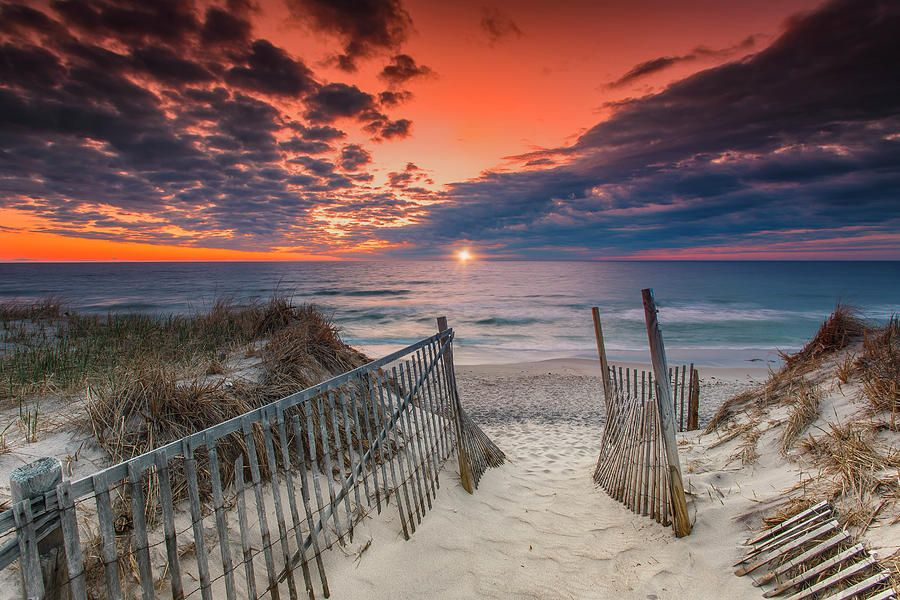 South Cape Beach Sunset Canvas Gallery Wrap landscape photo of a winter sunset at South Cape Beach State Park in Mashpee on Cape Cod