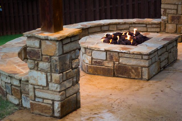 Unique Half Moon Fire Pit Shaped And Natural Stone Seat Wall Patio
