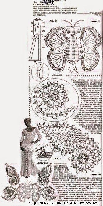 vestido de novia tejido con ganchillo - con patrones y diagramas