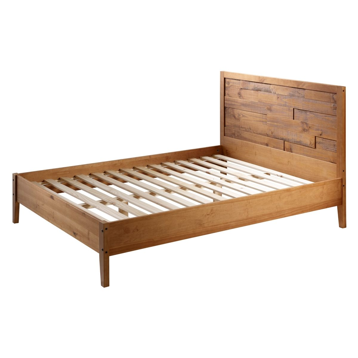 Walker Edison Plank Distressed Solid Wood Queen Bed Caramel