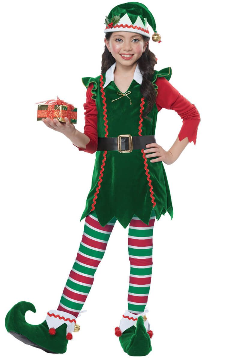 Girl/'s Santa/'s Little Helper Elf Christmas Festive Fancy Dress Costume /& Hat Kid