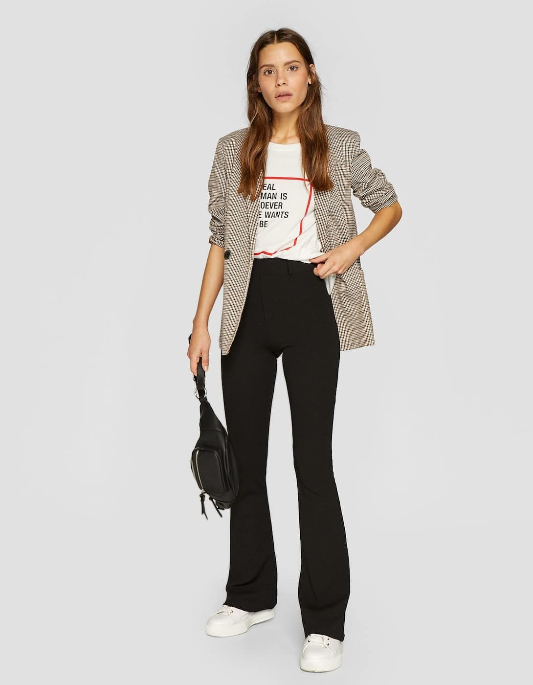 c8081c789f6 Plain knit flared trousers - Trousers | Stradivarius Spain - Islas Canarias