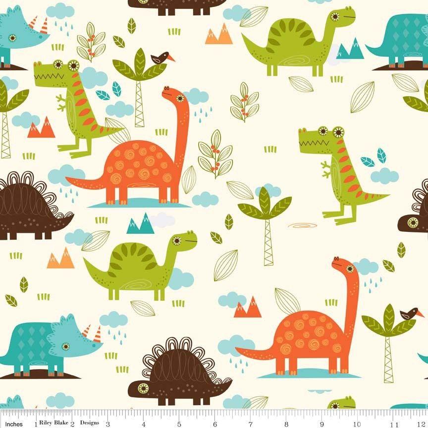 Riley Blake - Dinosaur Main Cream - cotton fabric