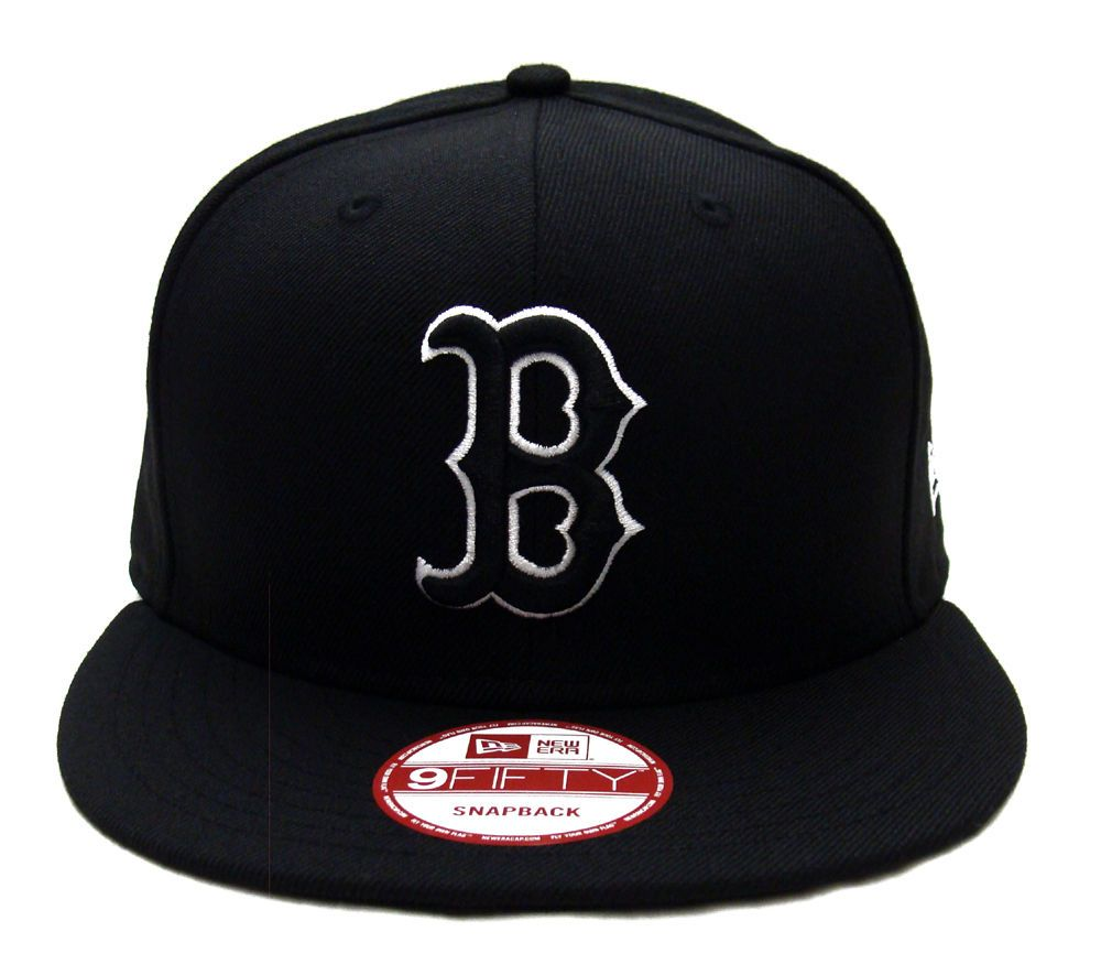 Boston Red Sox New Era Black Logo White Outline Snapback Cap Hat Black Boston Red Sox Hat Black Logo Boston Red Sox