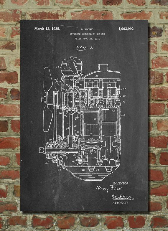 Internal combustion engine patent poster car part art engine art ford internal combustion engine patent poster car part art engine art henry ford classic car car blueprint mechanic gift pp843 malvernweather Image collections