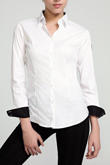 Camisa Mujer Clásica Blanca Contraste  a5814c2921435
